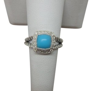 David Yurman Petite Albion Ring with Turquoise and Diamonds size 7 w/ pouch