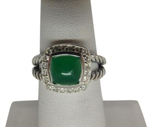 David Yurman Petite Albion Ring with Green Onyx and Diamonds size 6 w/pouch