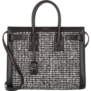 Saint Laurent Leather Tweed Nano Tote in Black and White