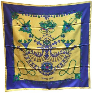 Hermès Hermes Vintage Parures des Sables Silk Scarf in Blue and Yellow