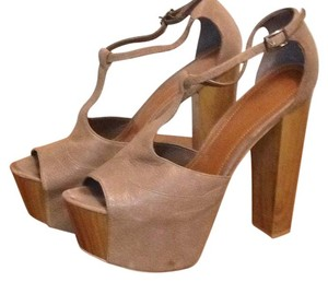Jessica Simpson Leather Peep Toe T-strap Two Piece Coffee Summer Platforms