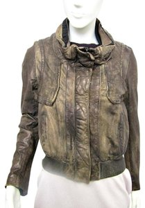 AllSaints Disstressed Bomber Leather Motorcycle Jacket