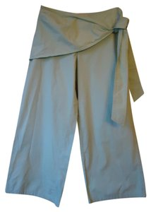 Anthropologie Cropped Green Tie Waist Wide Leg Sitwell Capris