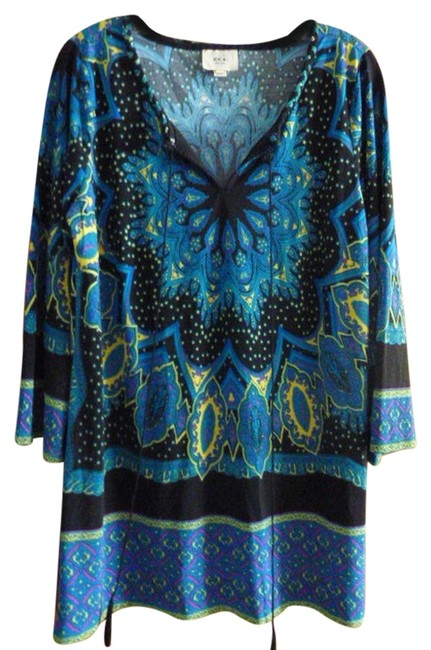 Preload https://item1.tradesy.com/images/eci-new-york-womens-colorful-tunic-l-large-wearable-art-blouse-size-12-l-2031020-0-0.jpg?width=400&height=650