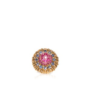 Other Vintage 14k Yellow Gold, Ruby and Sapphire Cluster Ring