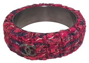 Chanel Chanel Red Tweed and Steel Bangle Bracelet