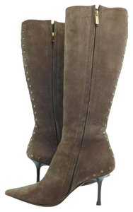Jimmy Choo Suede Studded Knee High Mocha Boots