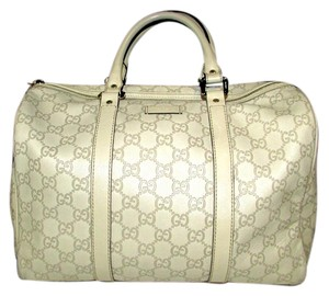 Gucci Leather Gg Boston Satchel in Beige