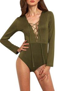 Other Bodysuit V-neck Lace Up Army One Piece Top Army Green