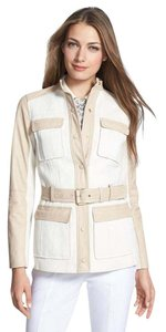 Tory Burch Luxury Leather beige /clay/ sandbox/ white Leather Jacket