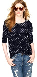 J.Crew Silk Anchors Nautical Top Navy Blue White