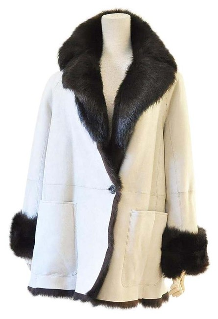 Item - White Suede Shearling Coat Size 8 (M)