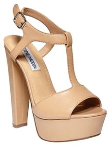 Steve Madden Leather T-strap Peep Toe Nude Platforms