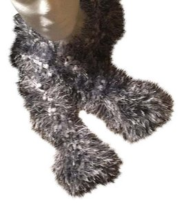 black and white boa style knit fuzzy scarf black and white fuzzy scarf