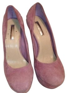 Halston Suede Leather Metallic Hardware Lavender Platforms