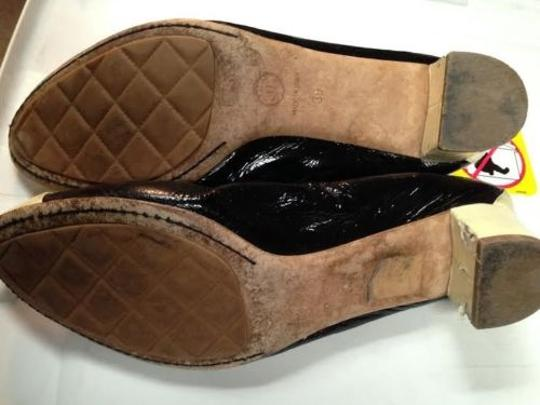 Chanel 39 Ballerina Flats Patent Mary Jane Cap Two Tone Strap Pumps