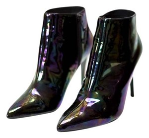 Stuart Weitzman Metallic Rocker Edgy Punk Patent Leather Black Boots