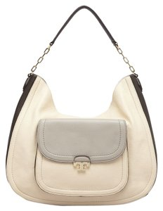 9e39f7359e84 Tory Burch Beige Color-blocking Colorblock Leather Front Flap Gold Hardware Hobo  Bag