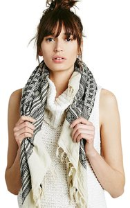 Free People Oversized Woven Embroidered Tassel Cotton Moroccan Festival Scarf