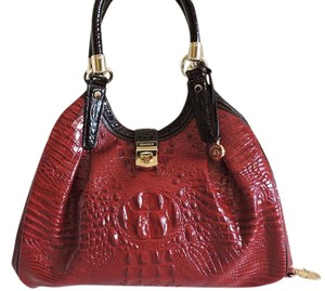 Brahmin Croc Leather Large Red And Brown Hobo Bag