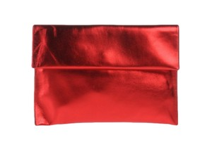 Marni Metallic Holiday Envelope Party Metallic Red Clutch
