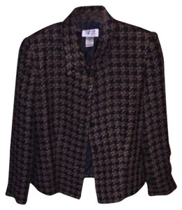 Style & Co Black And Dark Tan Hounds Tooth Blazer