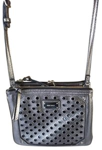Nine West Metallic Gunmetal 3 Compartment Cross Body Bag