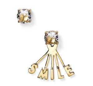 Kate Spade NWT KATE SPADE SAY YES SMILE STUD EARRINGS EAR JACKET W DUST BAG