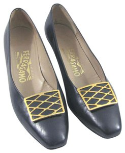 Salvatore Ferragamo Gold Large Buckle Leather Heels Dark Navy 6.5 M B Metal Hardware Italy blue Pumps