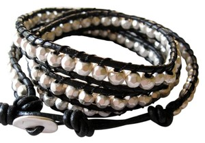 Other Black Leather Silver Bead Wrap Bracelet