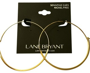 Lane Bryant Gold Wired Hoops Flat Bottom Half Earrings