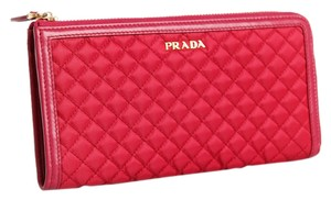 Prada Prada 1M1183 Wallet in Stitched Quilted Pattern DARK PINK