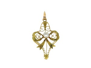 Other VINTAGE - 14k gold 1/4ct old European cut diamond lavaliere pendent