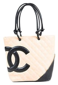 Chanel Ligne Cambon Quilted Handbag Tote in Beige, Black