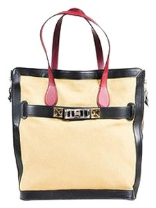 Proenza Schouler Proenza Tan Black Deep Red Canvas Leather Ghw Ps11 Tote in Beige