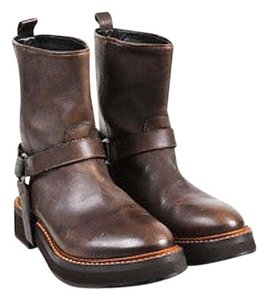 Brunello Cucinelli Silver Leather Strappy Monili Embellished Brown Boots