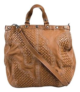 Bottega Veneta Intrecciato Leather Embroidered Satchel in Brown