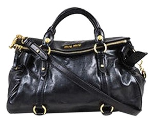 Miu Miu Gold Tone Satchel in Black