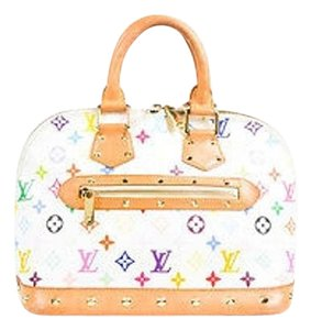 Louis Vuitton White Monogram Alma Canvas Leather Trim Satchel in Multi-Color
