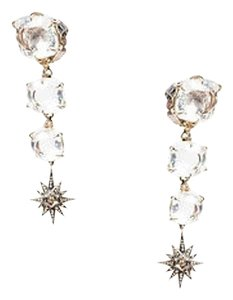 Other Sidney Garber 18k Yellow Gold Clear Crystal Diamond Starburst Drop Earrings
