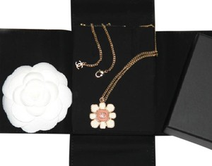 Chanel 2016 Brand New CHANEL Auth Gold Necklace Pink and White enamel