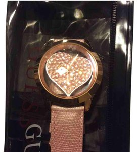 Guess pink and rose gold tone clear heart watch