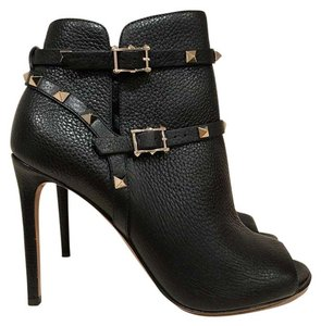 Valentino Rockstud Studded Stiletto Open Toe Pump black Boots