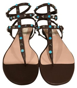 Valentino Rockstud Studded Beaded Gladiator Ankle Strap brown Sandals