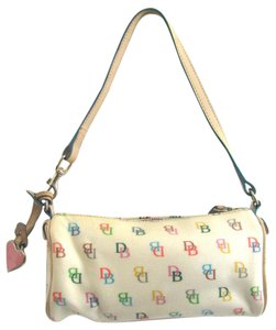 Dooney & Bourke Rainbow Signature Db Barrel Small Canvas Leather Monogram Heart Ivory Baguette