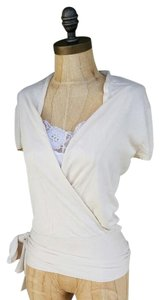 BCBGMAXAZRIA #knit #wrap #capsleeves #blouse #sash Top Cream