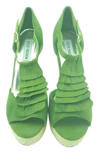 Steve Madden Woven Wedge Vacation Party High Heels Green Platforms
