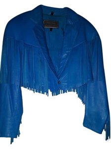 North Beach Leather Micheal Hodan Blue Leather Jacket