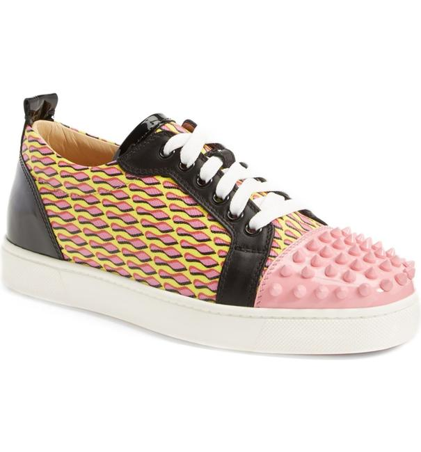 Item - Pink Black Yellow Louis Gondolita Spiked Patent Leather Lace Up Trainer Sneakers Size EU 37 (Approx. US 7) Regular (M, B)