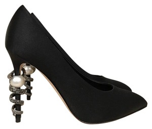 Chanel Snake Chain Pearl Crystal Stiletto black Pumps